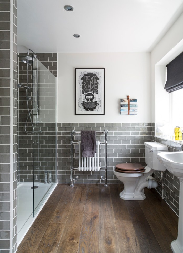 Grey metro tiled bathroom