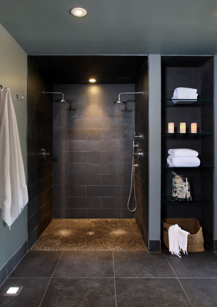 contemporary spa bathroom in basement