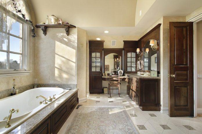 Luxury master bathroom with custom woodwork