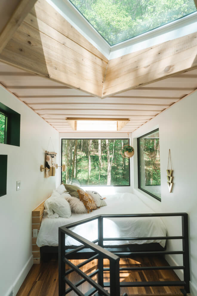 wood ceiling bedroom