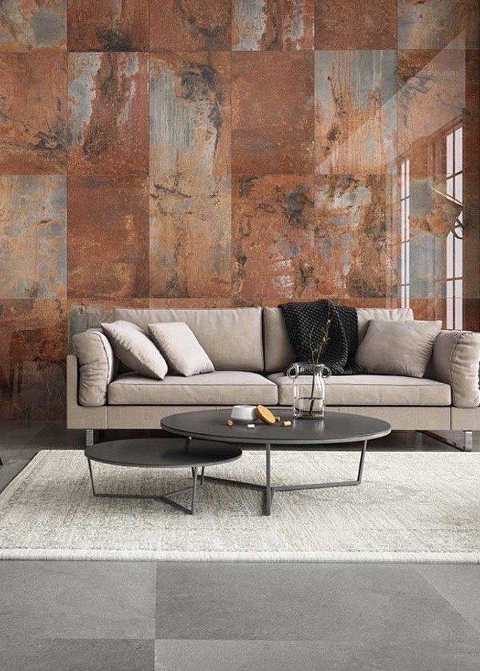 05. Do you want to dare to decorate your home? Apply the corten steel texture.