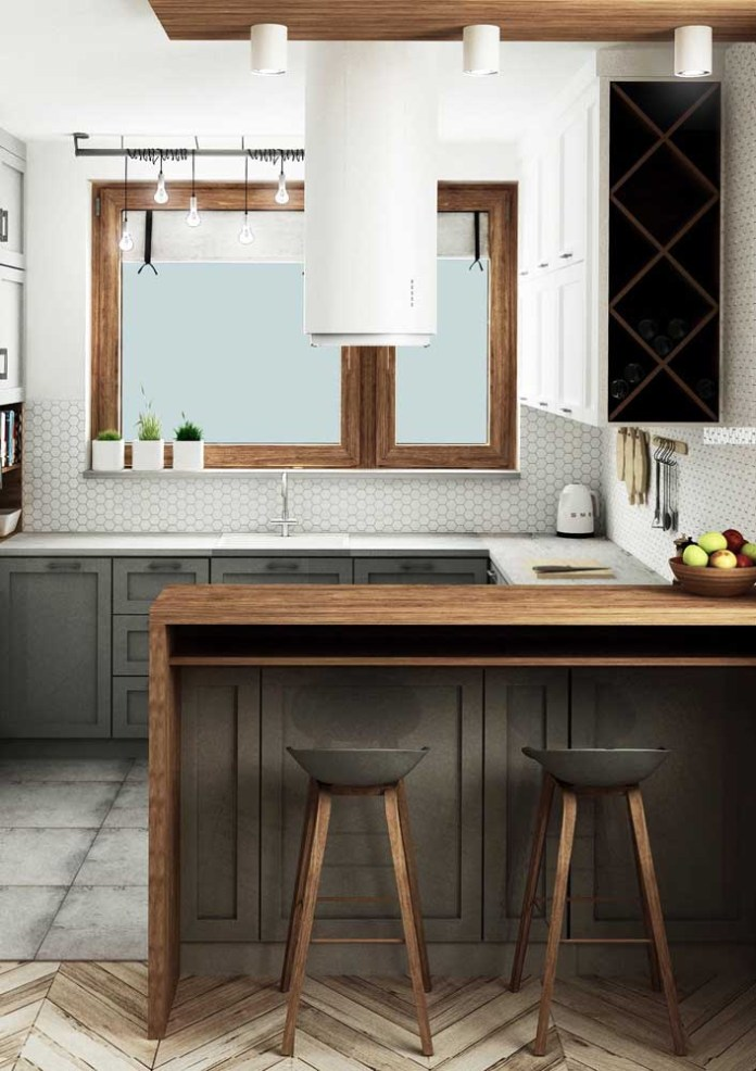 06. This small American kitchen had natural light in the room, thanks to the large window under the sink.