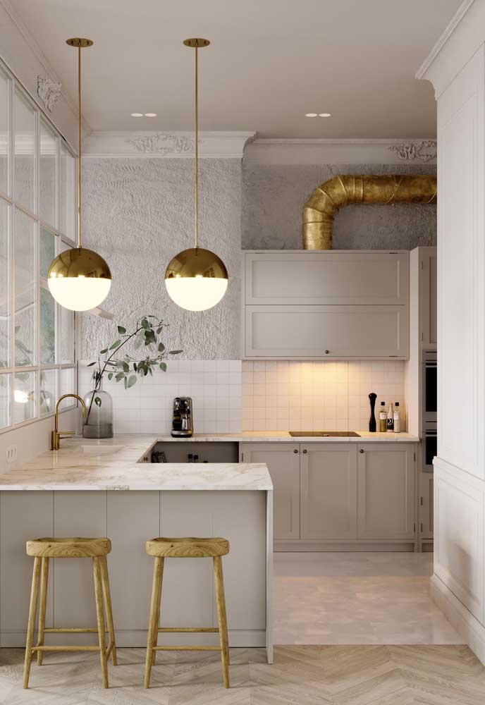 12. Small American kitchen with an emphasis on the different styles found in the environment.