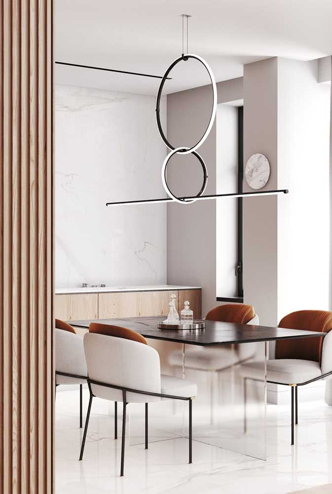 49 - Play of shapes and balance in this modern chandelier.