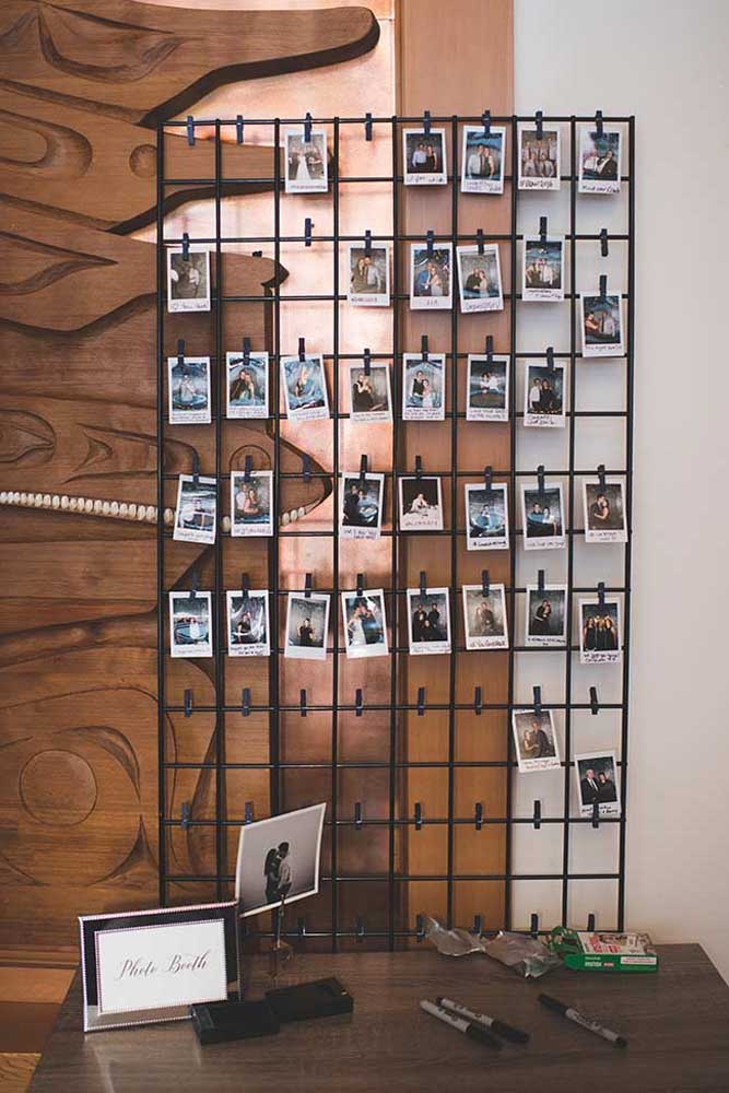 44. If you have a lot of Polaroid format photos, you can use the wire frame to assemble your photo panel.