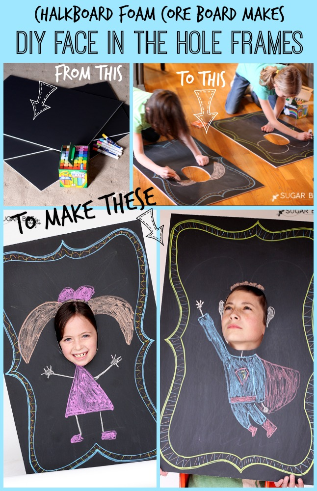 make your own face in the hole frames with chalkboard foam core