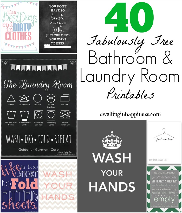 40 Fabulously Free Bathroom Laundry Room Printables