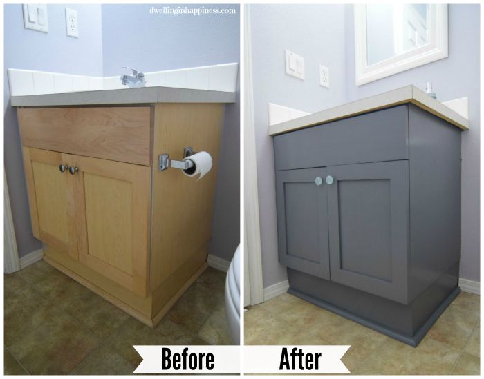 so much better what do you think - Painted Bathroom Cabinets Before And After