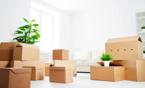 46910683 - move. lots of cardboard boxes in an empty new apartment