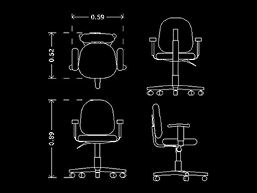 Silla de Oficina  Bloque de mueble de oficina Autocad 2d