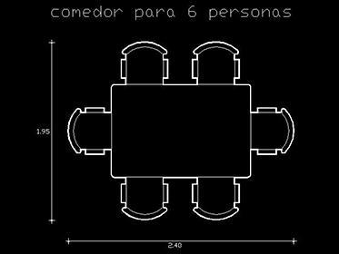 Bloque Autocad 2d gratis de Comedor sillas mesa  DWGAutoCADcom