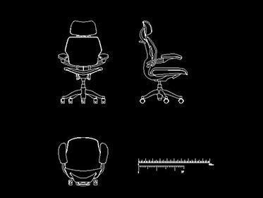 Silla ejecutiva  Bloque de mueble de oficina Autocad 2d