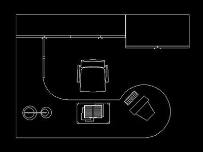 Escritorio  Bloque de mueble de oficina Autocad 2d gratis
