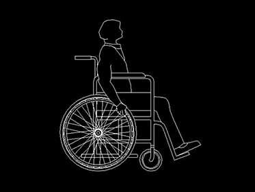 Persona en silla de ruedas  Bloque de Autocad 2d gratis