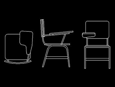 Pupitre banco silla mobiliario escolar en Autocad