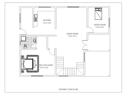 Double Story Small House Plan - ground floor