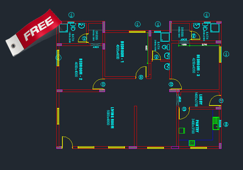 Single story small house plan 02 dwg net cad blocks - Autocad home design software free download ...