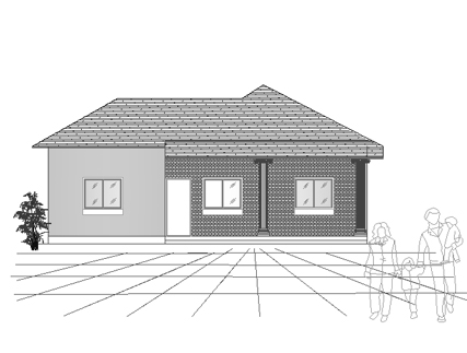 Single story house plan 03 - front elevation