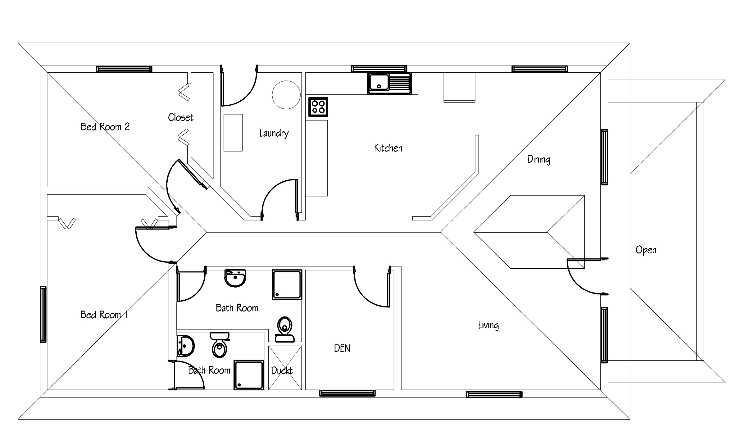 Small house plan free download with pdf and cad file for Cad house plans