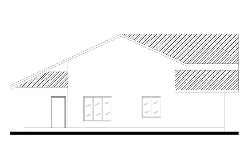 Single Story four bedroom house plan front elevation
