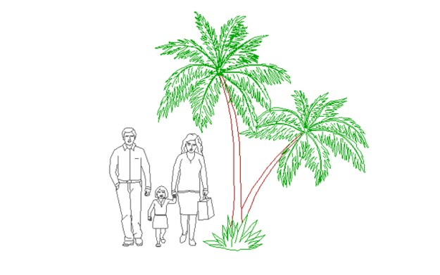 Coconut tree with peoples cad block 01