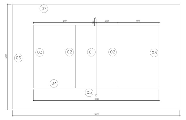Volleyball Court Layout CAD Drawing