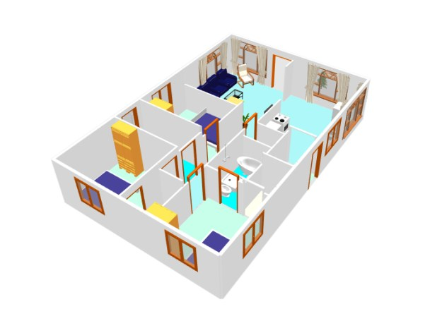 3D small house plan idea free download form dwg net  (3)
