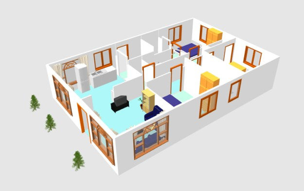 3D small house plan idea free download form dwg net  (4)