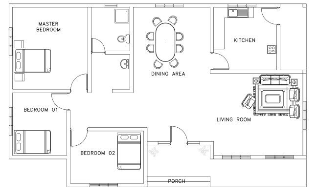 Asian And African Style Small House Plan Dwg Net Cad