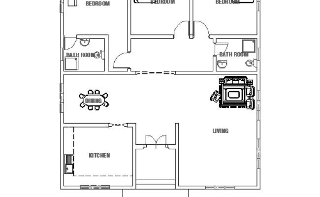 Three Bedrooms House Small House Plan Dwgnet Com