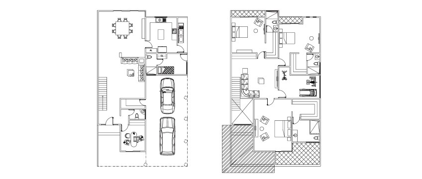 Ground And First Floor Plans | Three Bedroom Small House Plan With Ground Floor And First Floor