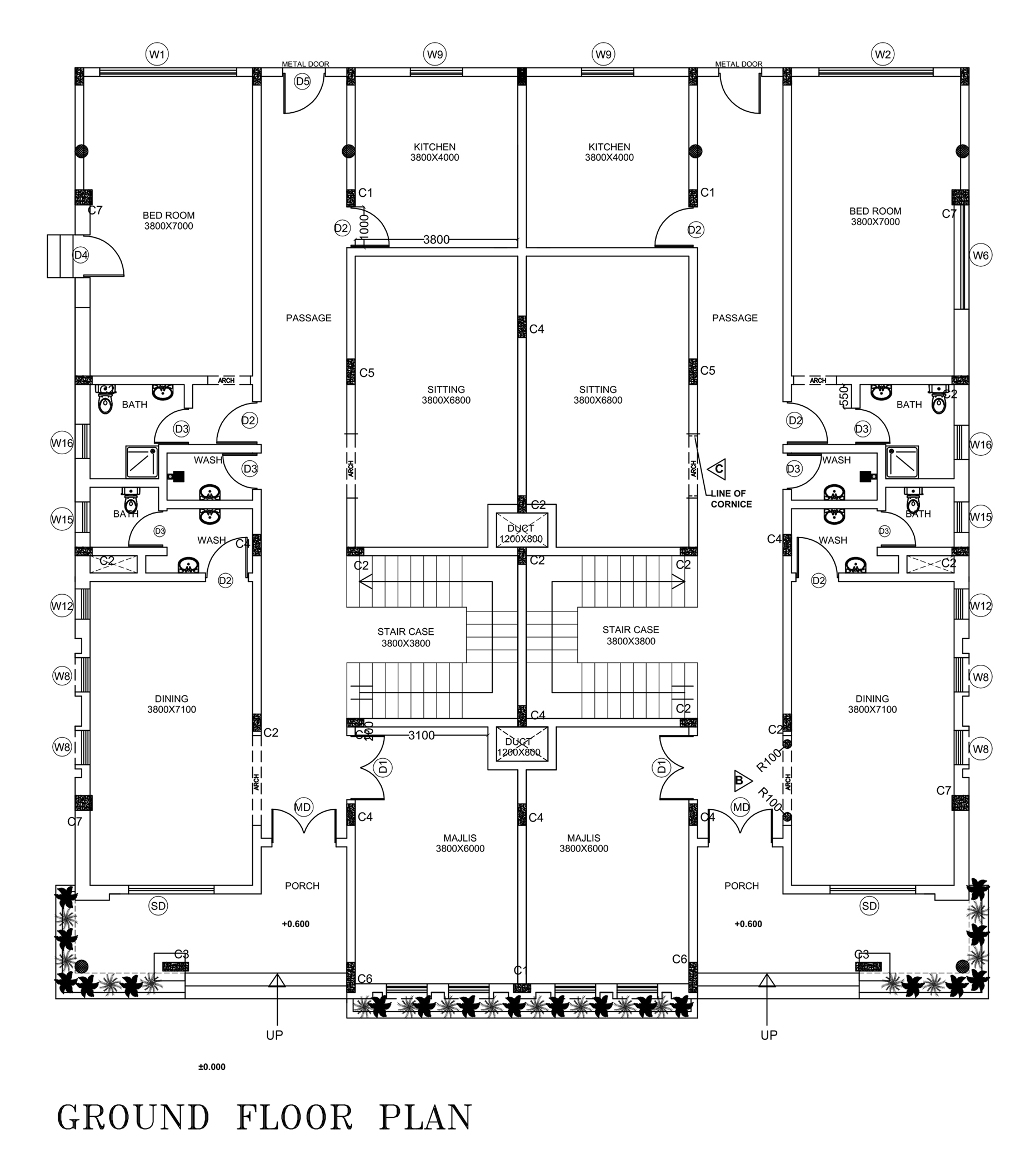 Front Elevation Of Floor Plan : Twin villa floor plan with side elevation free download