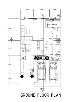 Ground floor plan of three bed room double story house