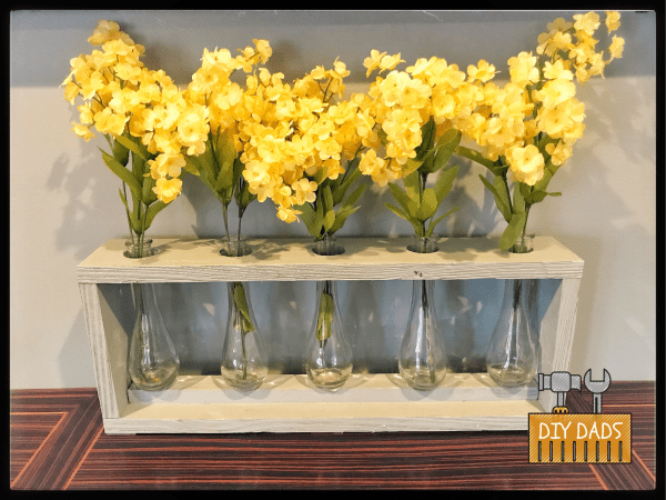 Wooden Vase with Set of 5 Glass Vases