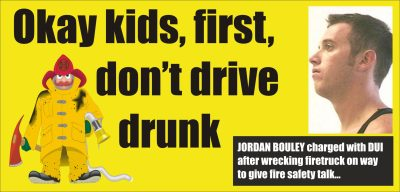 Jordan Bouley charged with DUI wrecked firetruck