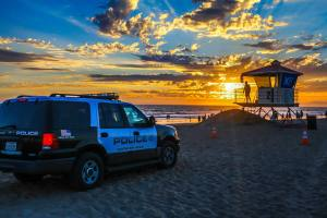 Huntington Beach Police patrol at beach