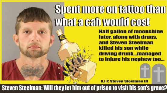 Spent more on a tattoo than what a cab would cost and killed his son while DUI