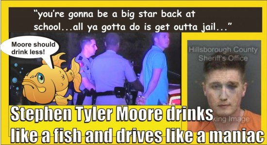 Stephen Tyler Moore DUI and kicked out cops window