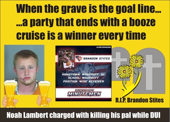 Noah Lambert charged with DUI fatal Woodruff SC 041215