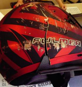 This helmet was being used by a motorcyclist reports South Dakota Highway Patrol.