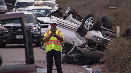 One person was killed in an overturn crash in Escondido. Photo courtesy of OnSceneTV