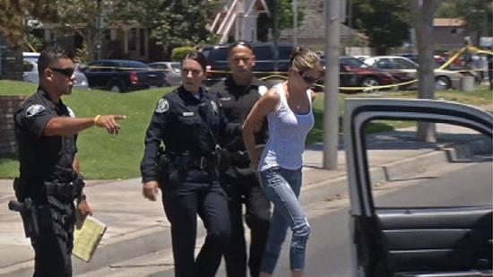 Jessica Louise Cowan arrested at scene of DUI murder photo courtesy of NBC Los Angeles
