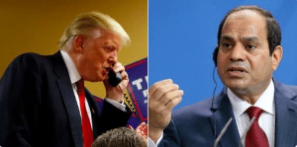 Donald Trump s'est entretenu hier avec le président égyptien Abdel Fattah al-Sissi   illustration - Montage photo:A24M