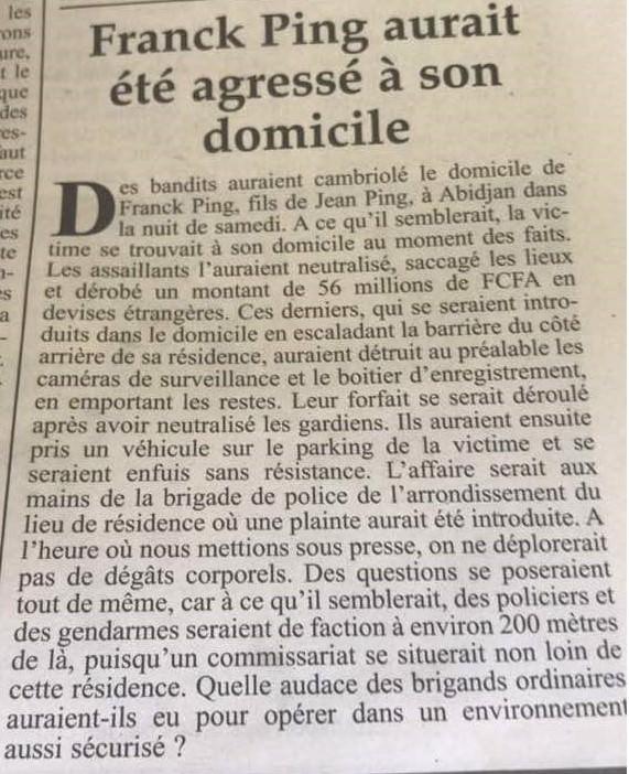 Franck Ping braqué à son domicile, 56 Millions volés