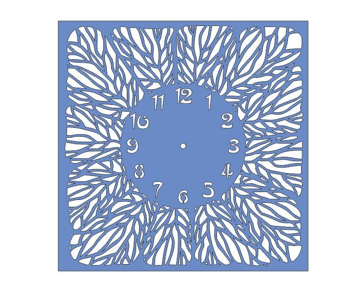 Cnc Project Cut File Square Floral Wall Clock DXF – DXF DOWNLOADS – Files for Laser Cutting and CNC Router ArtCAM DXF Vectric Aspire VCarve ...