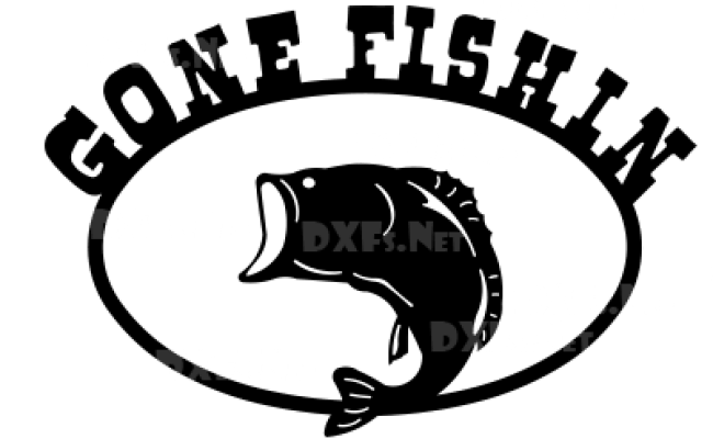 Dxf189 Gone Fishin Fish Sign Cnc Dxf File Download