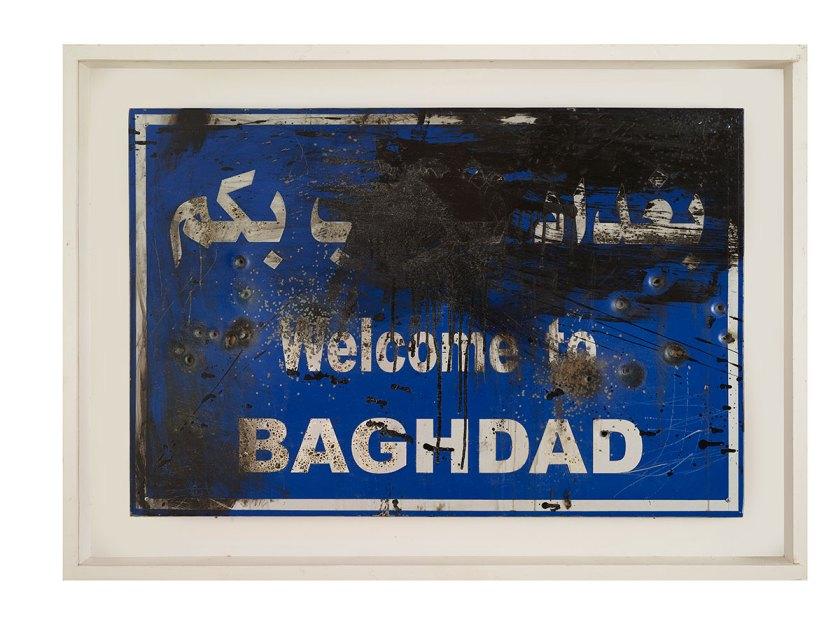 Mahmoud Shobbar, Mixed media on Aluminum-Street sign, Welcome to Baghdad, 80x120.5 cm, Courtesy of Ramzi & Saeda Dalloul Art Foundation