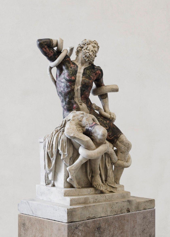 Fabio Viale. Laocoonte, 2018 | White marble and pigments cm 198,5 x 134 x 87