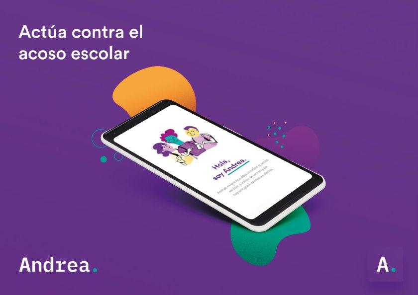 Descripción: «Andrea» es un proyecto de innovación social realizado por Nectar Estudio con el apoyo del Ajuntament de Valencia. Esta App funciona como una herramienta de comunicación anónima, la cual permite realizar alertas y chats anónimos, atendidos por profesionales de los centros educativos para detectar conflictos y prevenir casos de acoso escolar. Estudio / Agencia: Nectar Estudio.