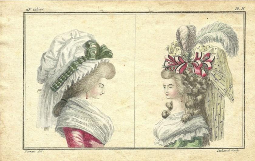 Deux bustes de femmes. Cabinet des Modes. 1786 Col. Particular